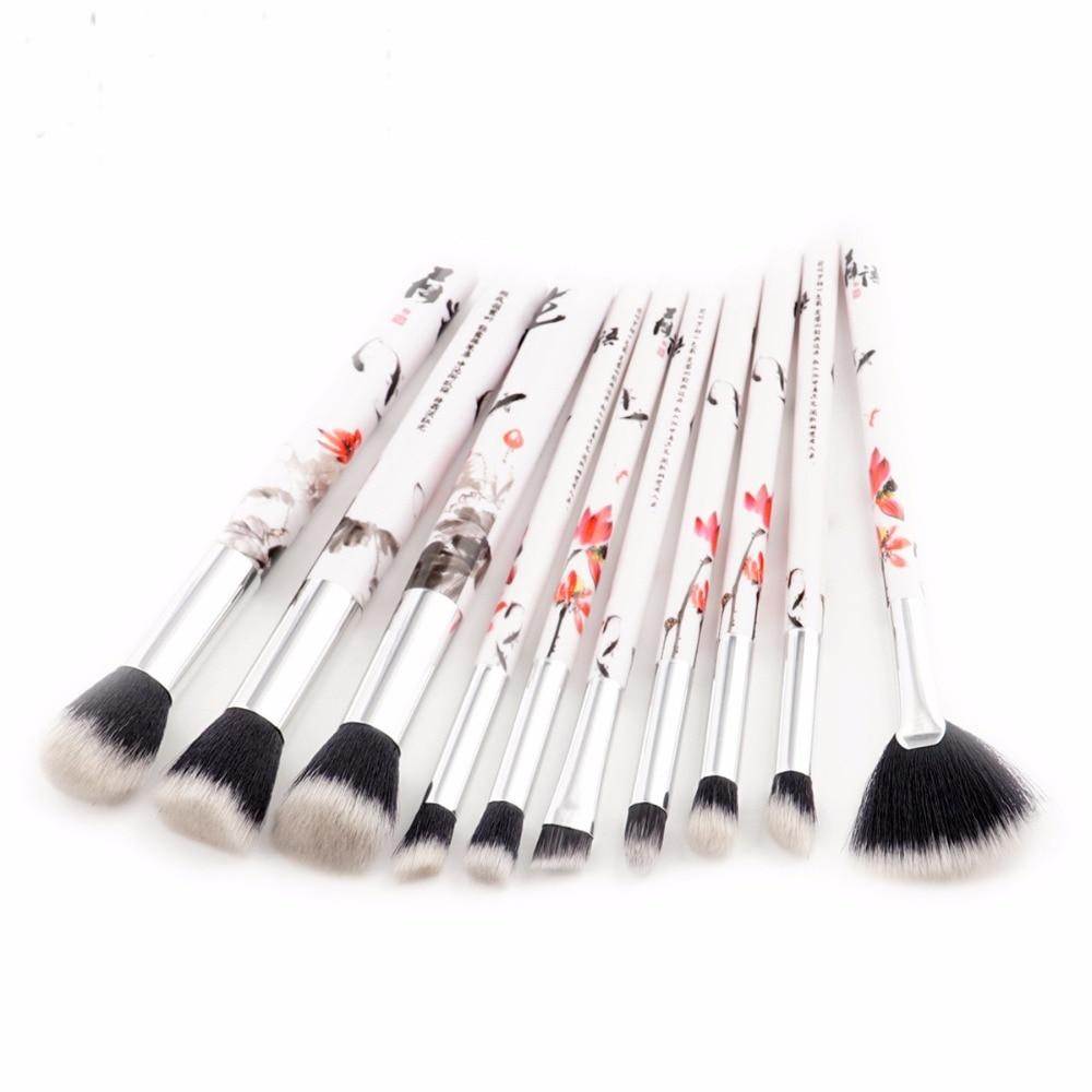 10 pcs Unique Makeup Brushes Set Chinese Style Ink Painting Handle Powder Eye Shadow Brush Beauty Make Up Tool Gift