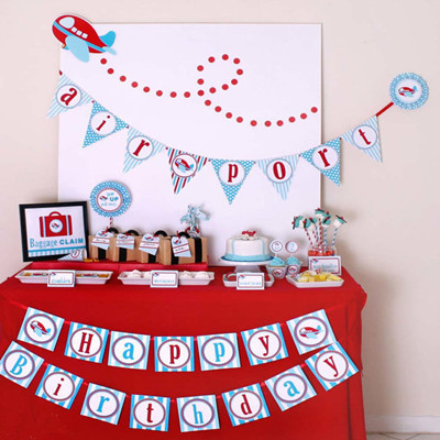 New Baby Shower Aircraft Theme Children Birthday Bunting HAPPY BIRTHDAY Banner Decorative Garland Party Supplies
