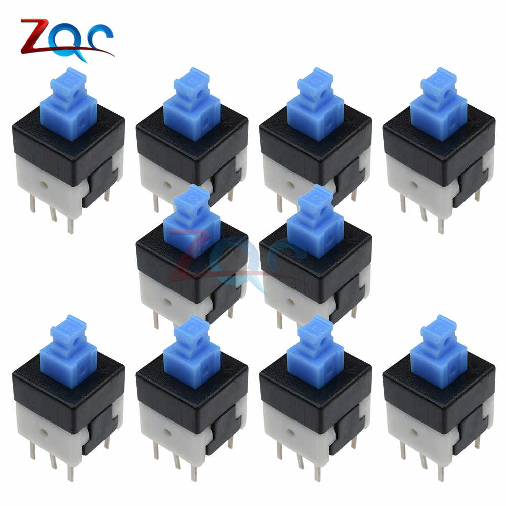 10 Pcs Baru 8X8mm Tutup Biru Buah Self-Locking Tipe Square Tombol Switch 8*8 8X8 Mm 6Pin multimeter