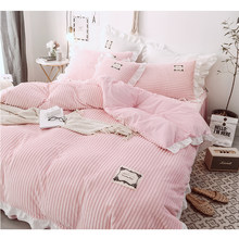 Bed Set 3/4 Pieces Pink Green Grey Bedding Set Twin Queen King Size Coral Fleece Duver Cover Bedspread and Pillowcases for Girl(China)