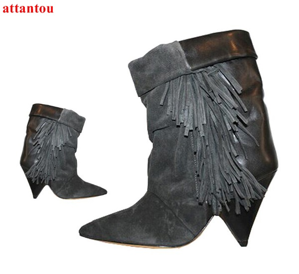 Autumn fashion spike heels woman ankle boot shoes side fringe tassel decor suede patch work short boots female party dress shoes hot selling chic stylish black grey suede leather patchwork boots mid calf spike heels middle fringe boots side tassel boots
