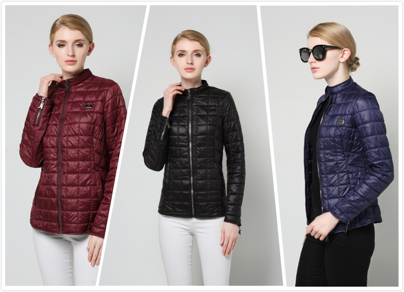 Spring and Autumn Lattice Female Parka Solid Color Stand Collar Short Women Jacket Coat Fashion Slim Long Sleeves Thin Parka 802