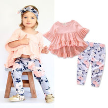 Baby Ruffles Set Autumn Spring Clothes Toddler Kids Baby Girls Floral Clothes Outfits T-shirt Tops + Floral Long Pants Set new стоимость