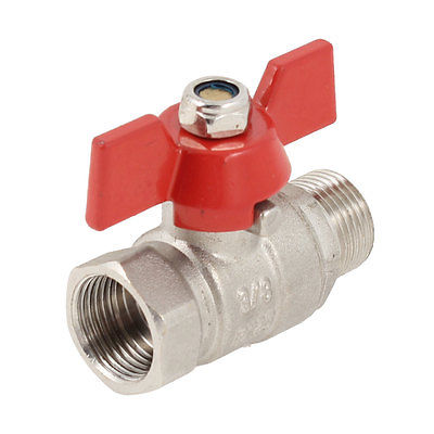 Male to Female 3/8 PT Thread Red Metal Coated Handle Brass Ball Valve 1 4 pt female to female thread lever handle full port brass ball valve zmm