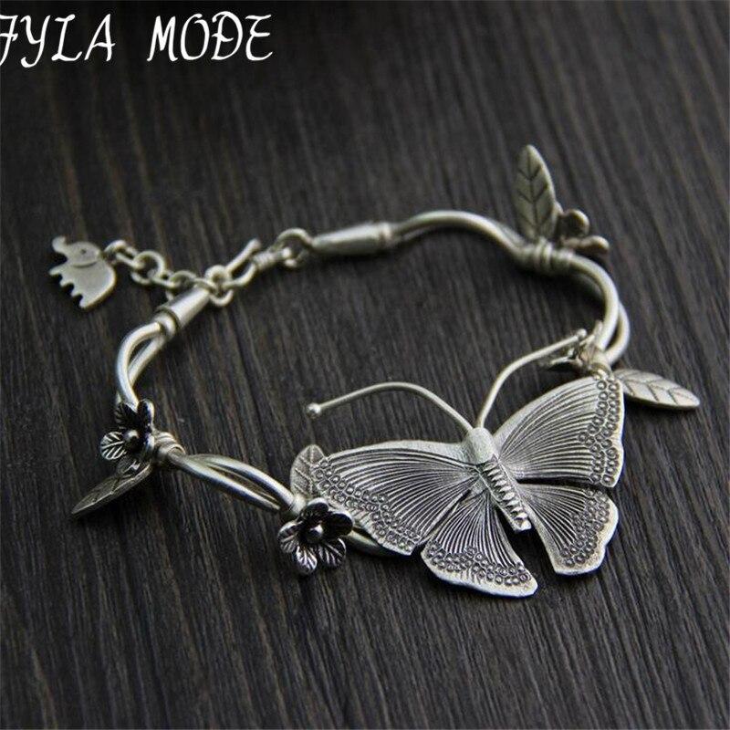 925 Thai Argent Multicouche Fleur Pendentif Bracelets & Bangles Mode Femmes Éléphant Papillon Charme Bracelet Bijoux Accessoires