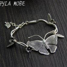 Купить с кэшбэком Fyla Mode Hot S925 Thai Silver Cute Butterfly Antique Silver Beautiful Womens Bracelet Jewelry Fashion Gift 5 Styles At Random