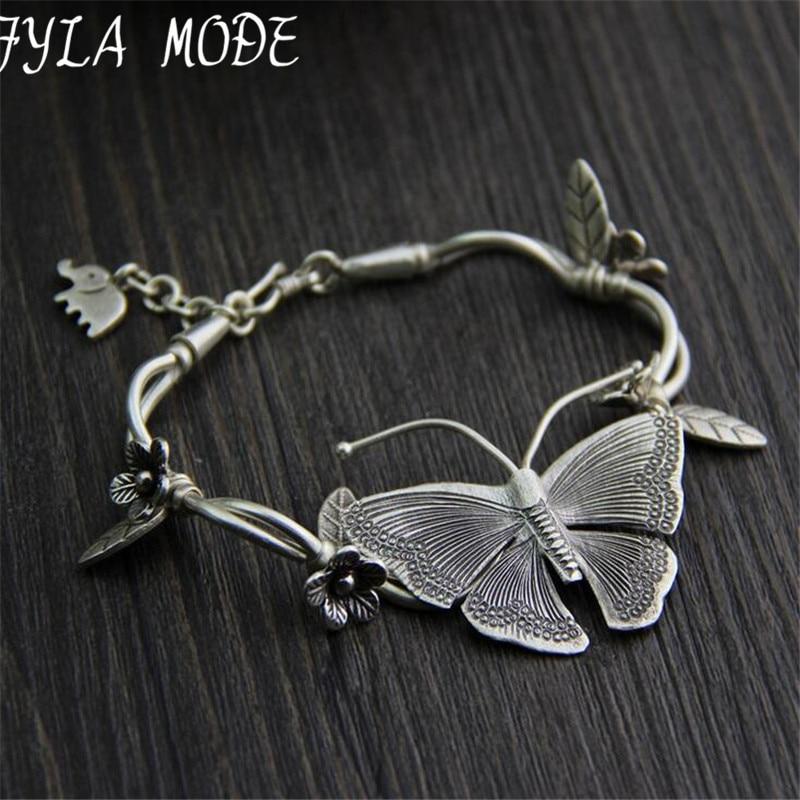 925 Thai Silver Multilayer Flower Pendant Bracelets&Bangles Fashion Women Elephant Butterfly Charm Bracelet Jewelry Accessories