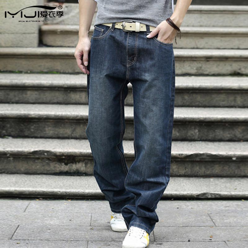 Loose Casual Men Jeans Large Size Baggy Jeans 28-44 Size Washed Straight Robin Denim Black Ripped Biker Jeans Men Mp58 Z40
