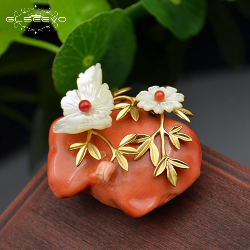 GLSEEVO Natural Coral Mother Of Pearl Flower Brooch For Women Accessories Pins And Brooches Dual Use Luxury Fine Jewelry GO0125GLSEEVO Natural Coral Mother Of Pearl Flower Brooch For Women Accessories Pins And Brooches Dual Use Luxury Fine Jewelry GO0125