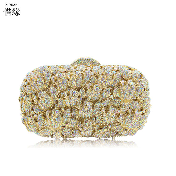 XIYUAN BRAND gold Evening Bag Royal Luxury silver Crystal Bridal Party Purse Diamond Wedding Bag Rhinestone Box Clutch Bag xiyuan brand luxury evening bag gold silver diamond party prom purse women wedding bridal chain handbags mini cshoulder bag