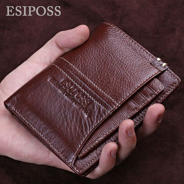 ESIPOSS Fashion Genuine Leather Men Wallets with ID Card Holder Brand Bifold Walet Brown Vintage Male Purse dollar price