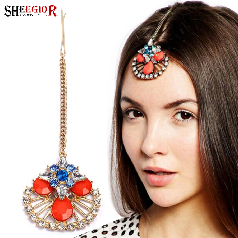 us $1.64 45% off|sheegior lovely gold chains hair pins wedding bridal hair  accessories for women indian hollow flower forehead hair clips jewelry-in