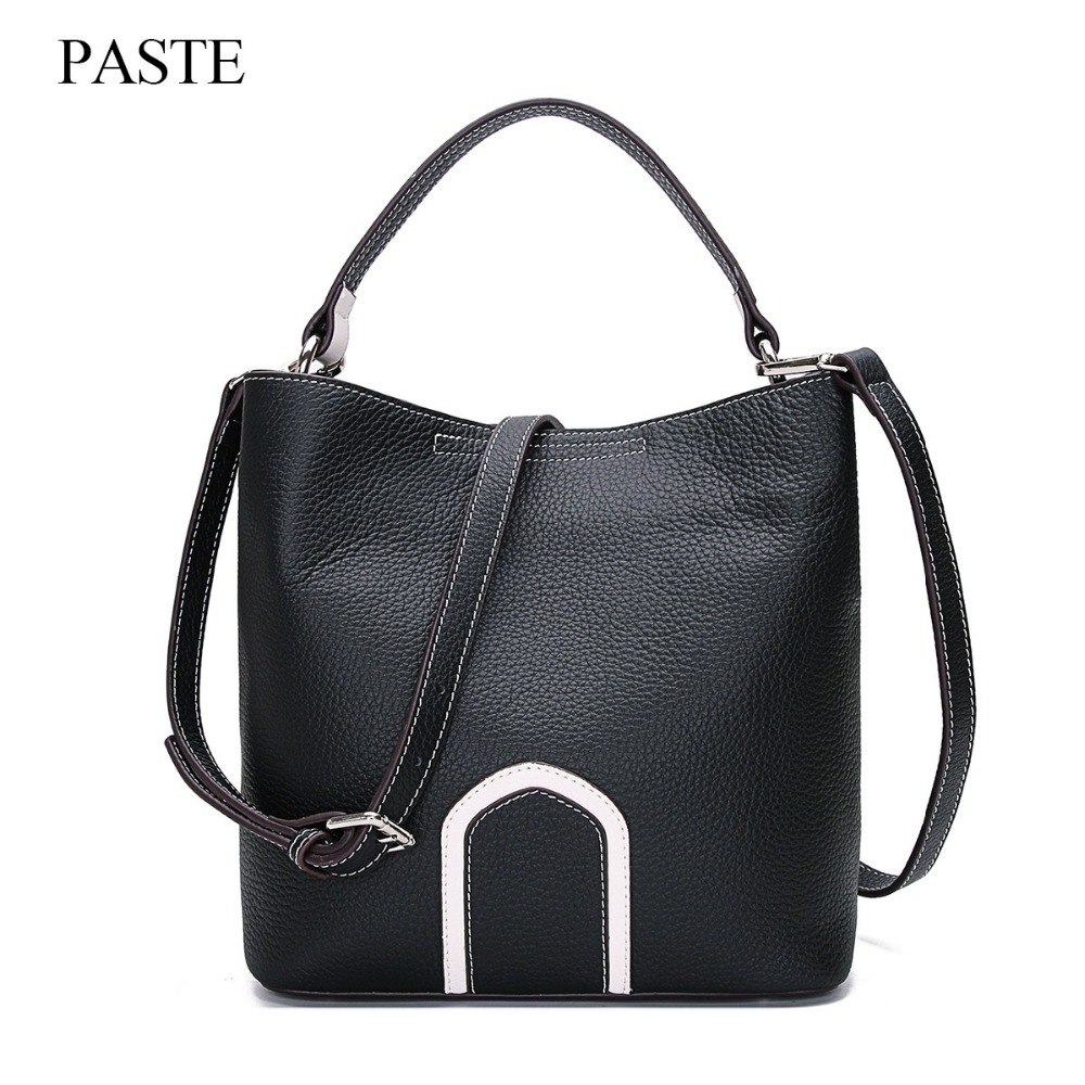 PASTE new women bucket handbag totes genuine cowhide leather ladies shoulder bags fashion design female messenger/crossbody bag paste genuine leather brand women clutch bags fashion crocodile pattern envelope shoulder ladies messenger handbag female gift