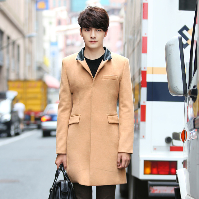 2017 Autumn Winter Men Wool Coats Jackets Single Stand Collar Coats Long Trench Casual Male Coats Plus Size XXXXL JST102