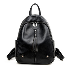 Womens new leather dual-use Korean travel backpack Vertical square zipper large capacity