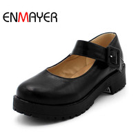 Platform Shoes Free Shipping NEW Hot Arrival Mary Jane Flats Shoes PU Leather Round Toe Casual