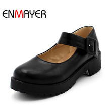 купить Platform Shoes free shipping NEW hot arrival Mary Jane Flats Shoes PU Leather Round Toe Casual platform Shoes Women ladies flats дешево
