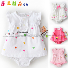 new 2014 summer creepers baby clothes Baby bodysuit kids dot plaid skirt overall girl triangle products