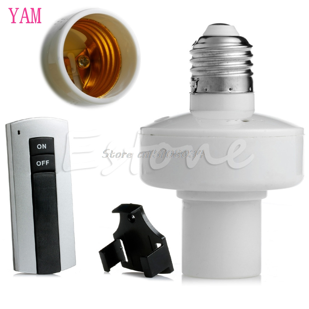 E27 Screw Wireless Remote Control Light Lamp Bulb Holder Cap Socket Switch New S08 Drop ship new rf 315 e27 led lamp base bulb holder e27 screw timer switch remote control light lamp bulb holder for smart home