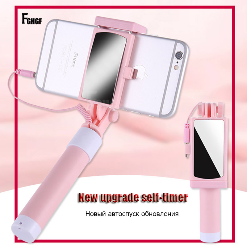 FGHGF Universal Phone selfie stick Wired Handheld Monopod Mini Sport Mobile Phone Holder With Mirror Foldable Selfie Sticks