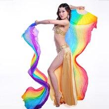 Women 1 Pair 100% Silk Veil Belly Dance 200cm Long Veils Fan Rainbow Stage Performance Props