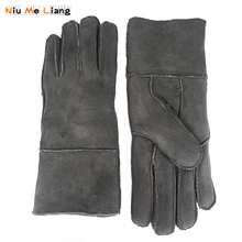 Winter Gloves Women Real pure sheepskin Sheepskin cashmere Fur Warm Ladies Full Finger Genuine Leather mitten gloves N15
