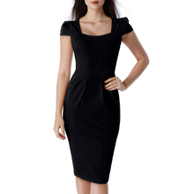 Vfemage Womens Elegant Square Neck Puff Cap Sleeve Pockets Pleated Casual Work Business Office Party Bodycon Pencil Dress 2589