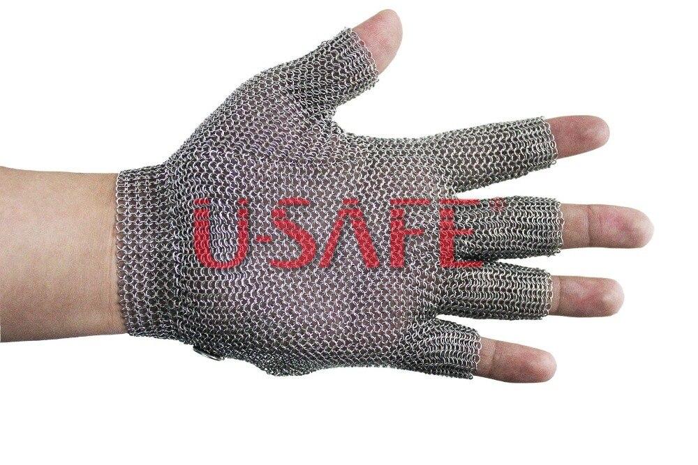 Полностью металлические длинные манжеты Chainmail устойчивы к порезам безопасности работы мясника стальные перчатки - 2