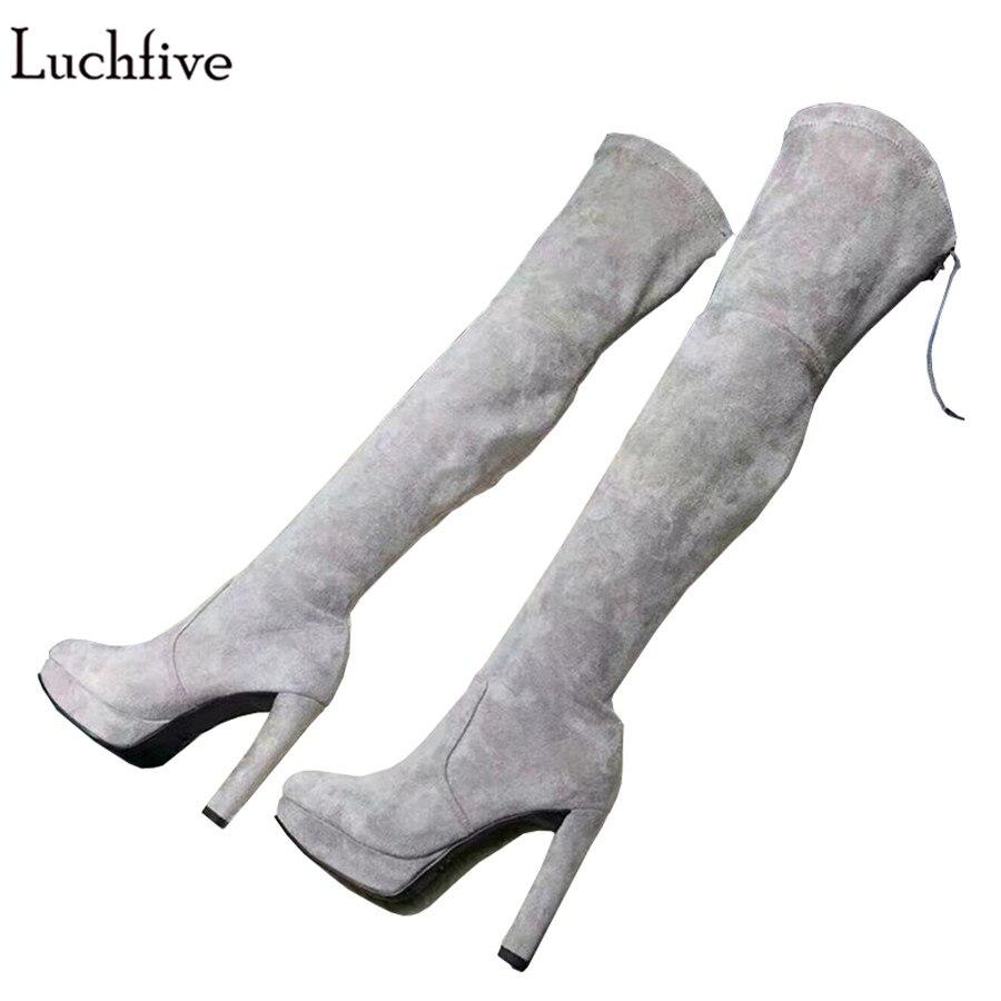 Luchfive Stretch flock suede Over The Knee Boots Womens platform high heels winter Thigh High Boots platform 2018 bota feminina