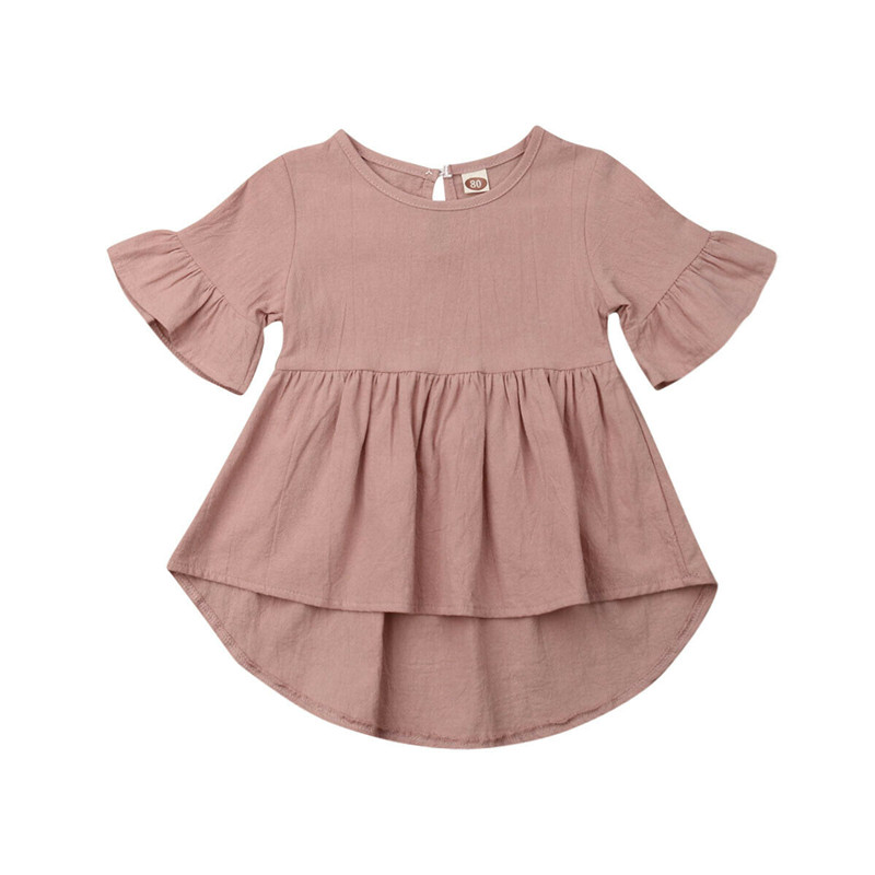 New 2019 Summer Toddler Baby Girls Clothes Flare Sleeve Cotton Dress Kid Girl Solid Color Holiday Clothing Infant Children Dress