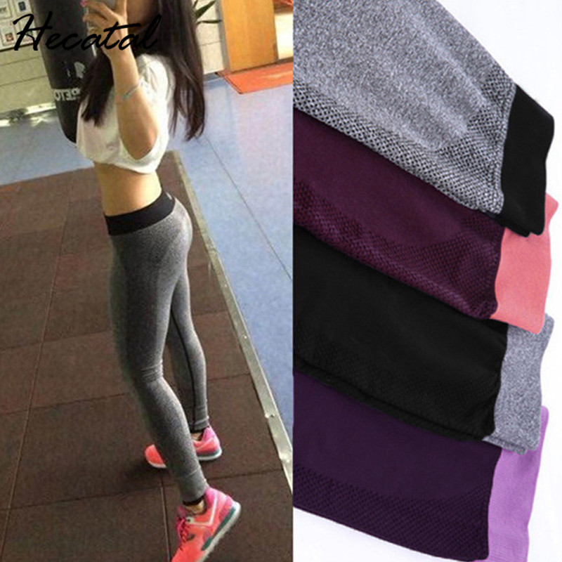 Hecatal 2018 Sexy Quick Dry Fitness Sports High Elastic Fitness Leggings For Women Yoga Pants Running Women