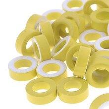 50 шт. T50-26 желто-белое кольцо Железный ферритовый тороид сердечники 7,5 мм внутренний диаметр для индукторов