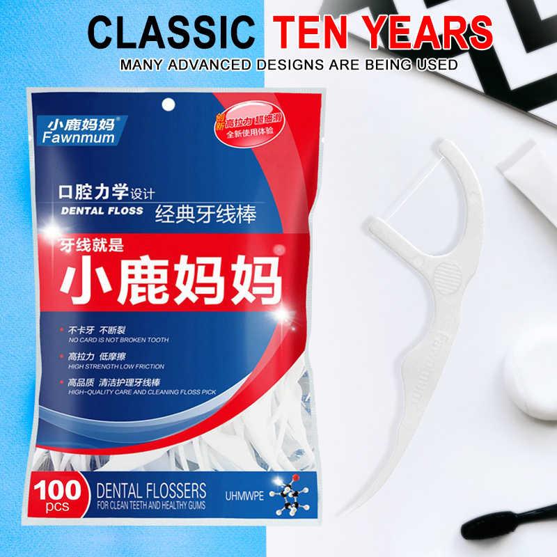 100/30 sztuk przenośny Dental Oral Clean nici z uchwytem ortodontyczne zębów opieki szczoteczka międzyzębowa codziennie nitka dentystyczna wykałaczki