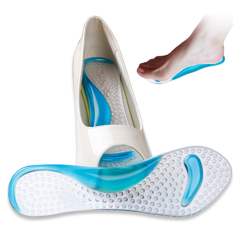 200pcs/lot Shoes Insoles Gel heel insert 3/4 Lady Shoe Pad With Non-Slip Arch Support And Cushion Orthotics Feet Care Washable expfoot orthotic arch support shoe pad orthopedic insoles pu insoles for shoes breathable foot pads massage sport insole 045