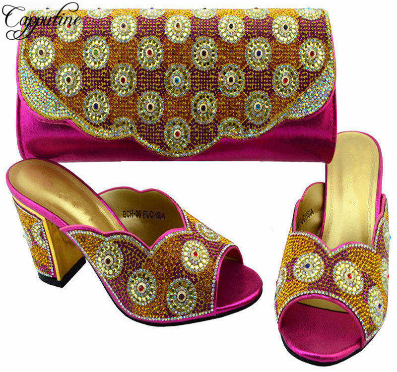 Capputine African Summer Shoes And Bag Set Italy Rhinestone Women Pumps Fuchsia Color Shoes And Bag For Parties BCH-36 2016 spring and summer free shipping red new fashion design shoes african women print rt 3