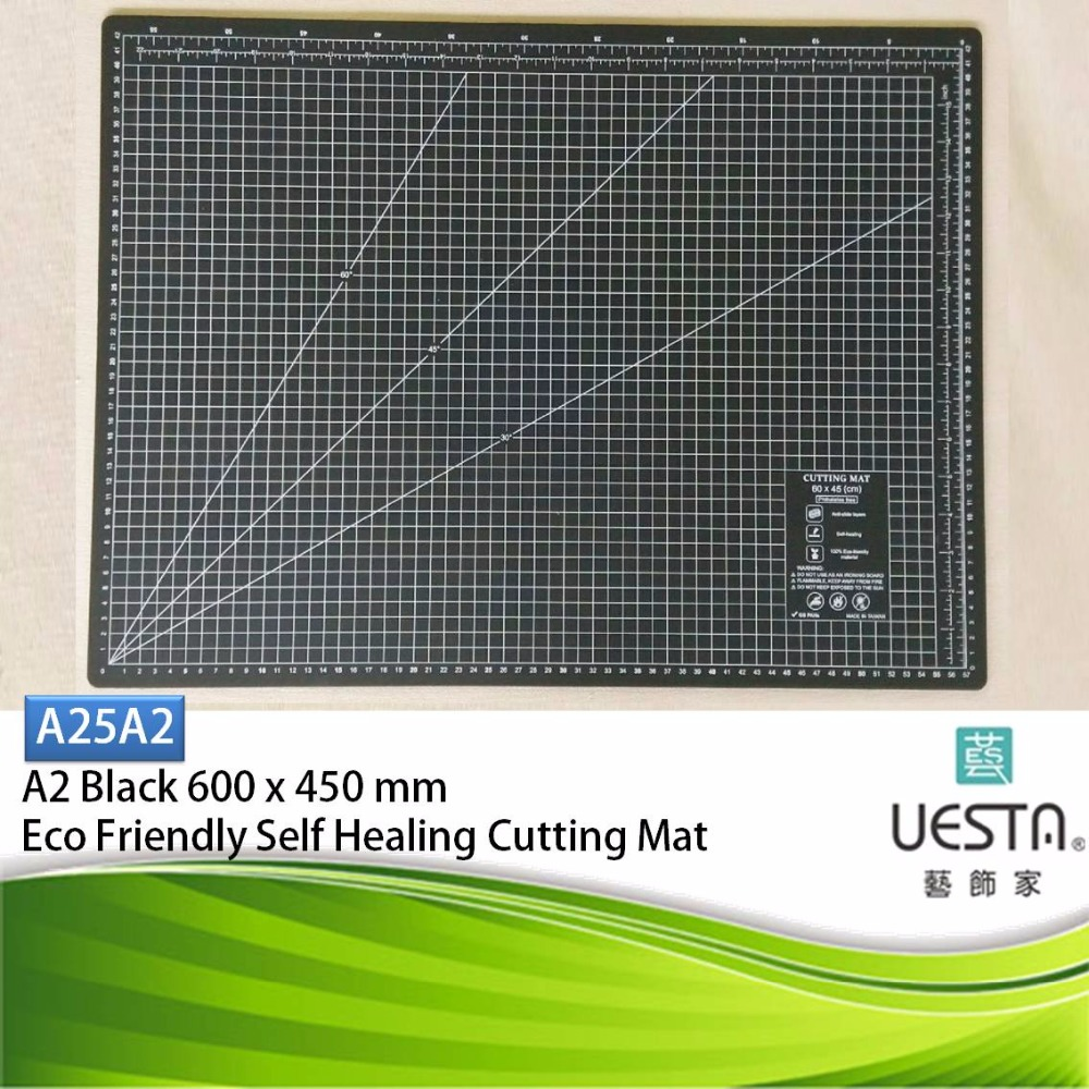 Black Sewing Color 2.5 mm Rectangle Self Healing Eco Friendly TPE Cutting Mat A2 60 by 45 cm 24 by 18 inch