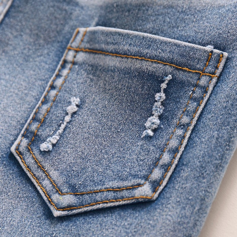 Children Jeans Boys Girls Sring Autumn Full Length Jeans Pants Cotton Fashion Casual Style with convenient Elastic Waist 6
