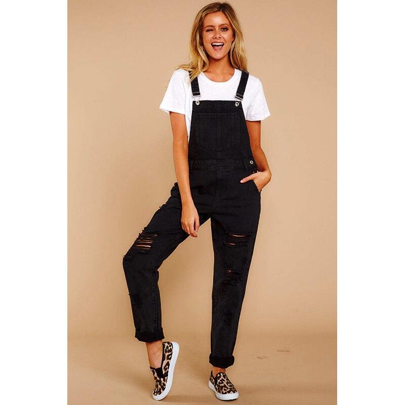 Женский джинсовый комбинезон с дырками, черный облегающий комбинезон с дырками, летняя уличная одежда, H40