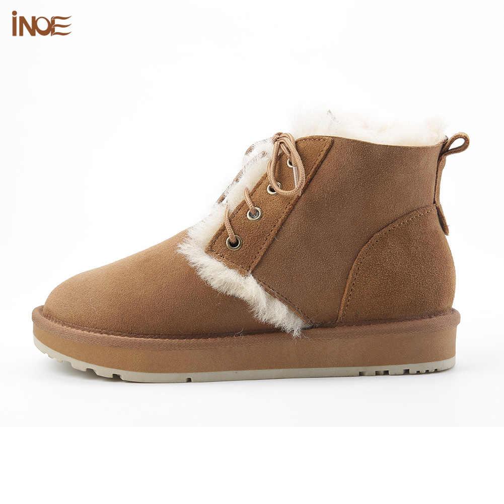 Inoe Phong Cách Thời Trang Da Cừu Da Lộn Da Len Lông Lót Nữ Ngắn Cổ Chân Mùa Đông Giày Casual Ủng Giày Không chống Trượt
