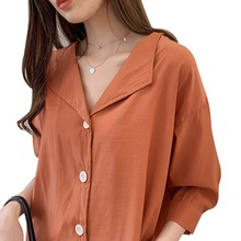 2019 womens tops and blouses Summer Simple Solid V-Neck Three Quarter Sleeve Button Up Loose Chiffon blusas