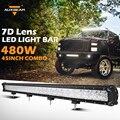 7d auxbeam 45 pulgadas cree fichas coche led barra ligera del trabajo 480 w auto Led OffRoad Conducción Barra de Luz para SUV ATV RZR Pick-Up Truck Combo