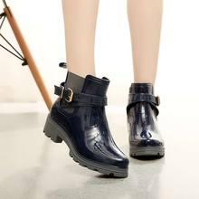Мода 2016 года Эластичная лента одноцветное женские резиновые сапоги Водонепроницаемый Прогулки Открытый Охота водонепроницаемая обувь ботильоны Мартинс резиновые сапоги