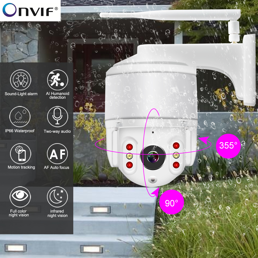 IP Camera 1080P Wifi Outdoor Camera Color Night Vision PTZ Security Speed Dome Camera Wifi Smart Outdoor Security Camera HD1080p