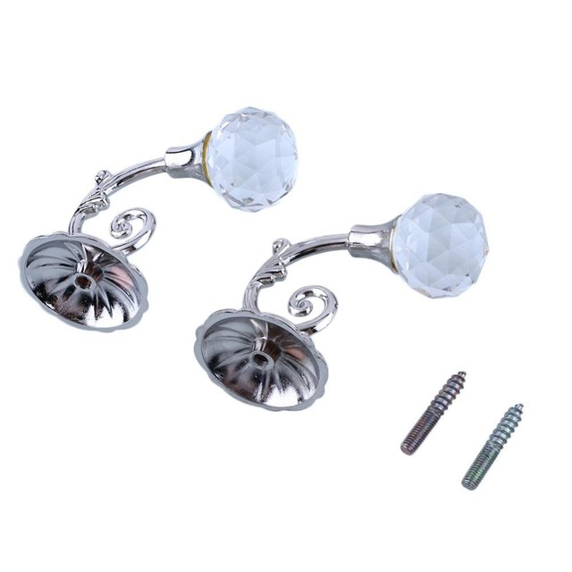 2Pcs Crystal Glass Ball Shape Wall Hook Tie Curtain Hanging Hook ...