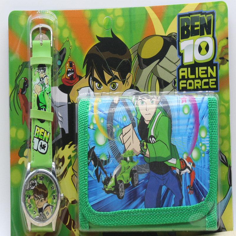 1PCS New Children Watches BEN 10 Kids Part Set Watch Wristwatch And Wallet Purse Kids Watch