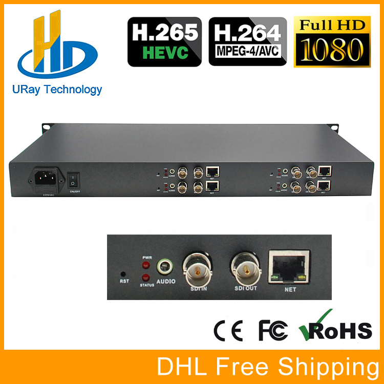 1U шасси 4 Каналы HD/3g SDI IP поток кодер IPTV H.265/H.264 устройство кодирования для потокового вещания, IPTV