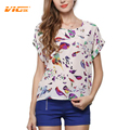 VICVIK Brand Women Chiffon Blouse Summer Short Sleeve Shirt Elegant O-neck Birds Pattern Casual Loose Blouse Printed Tops
