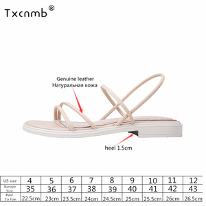 Image 2 - TXCNMB 2020 Summer sandals women Genuine Leather Shoes Woman Fashion Casual Sandals Comfort Slippers White Black Female Sandals