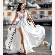 3933824769b30 Flowing Chiffon Bohemia Beach Wedding Dress Long 2019 White Lace Side Split  A Line White Bridal