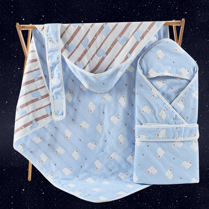 90*90cm New 6 Layers Muslin Cotton Hooded Baby Blanket manta Baby Bath Towel Infant Baby Swaddle Envelopes Baby Bedding Sleeping